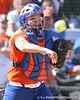 photo by Tim Casey<br /> <br /> Florida sophomore Tiffany DeFelice throws the ball around the horn after a strikeout during the fifth inning of the Gators' 8-0 win against the Baylor Bears on Saturday, February 7, 2009 at Katie Seashole Pressly Softball Stadium in Gainesville, Fla.