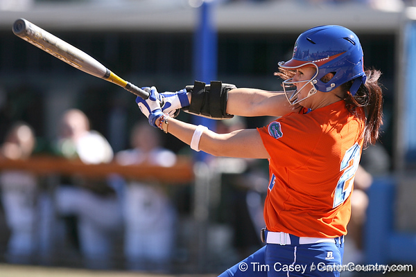 photo by Tim Casey<br /> <br /> Florida sophomore Kelsey Bruder grounds out to second in the first inning during the Gators' 8-0 win against the Baylor Bears on Saturday, February 7, 2009 at Katie Seashole Pressly Softball Stadium in Gainesville, Fla.