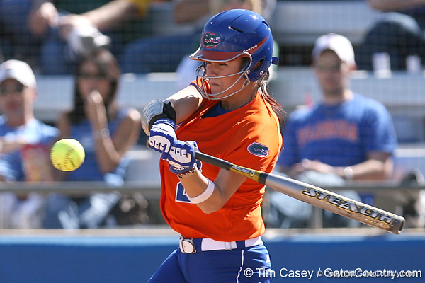 photo by Tim Casey<br /> <br /> Florida sophomore Kelsey Bruder hits into a double play in the third inning during the Gators' 8-0 win against the Baylor Bears on Saturday, February 7, 2009 at Katie Seashole Pressly Softball Stadium in Gainesville, Fla.