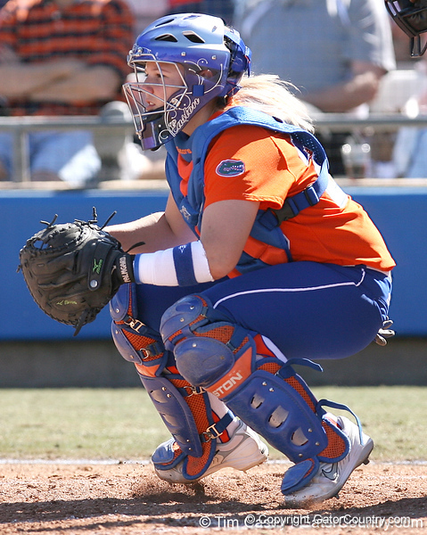 photo by Tim Casey<br /> <br /> Florida sophomore Tiffany DeFelice awaits a pitch in the third inning during the Gators' 8-0 win against the Baylor Bears on Saturday, February 7, 2009 at Katie Seashole Pressly Softball Stadium in Gainesville, Fla.