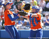 photo by Tim Casey<br /> <br /> Florida sophomore pitcher Stephanie Brombacher and sophomore Tiffany DeFelice celebrate after a third-inning strikeout during the Gators' 8-0 win against the Baylor Bears on Saturday, February 7, 2009 at Katie Seashole Pressly Softball Stadium in Gainesville, Fla.