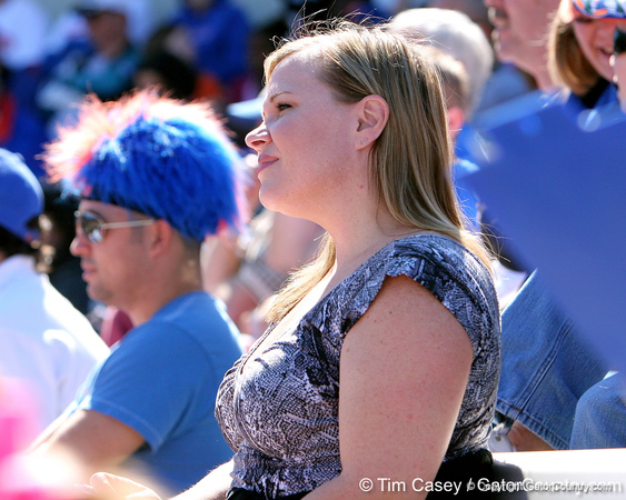photo by Tim Casey<br /> <br /> ESPN reporter Holly Rowe watches during the Gators' 8-0 win against the Baylor Bears on Saturday, February 7, 2009 at Katie Seashole Pressly Softball Stadium in Gainesville, Fla.