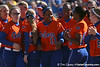 photo by Tim Casey<br /> <br /> Florida redshirt freshman Shaunice Harris celebrates after a home run in the first inning during the Gators' 8-0 win against the Baylor Bears on Saturday, February 7, 2009 at Katie Seashole Pressly Softball Stadium in Gainesville, Fla.