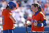 photo by Tim Casey<br /> <br /> Florida junior third baseman Corrie Brooks talks with senior catcher Kristina Hilberth in the second inning during the Gators' 8-0 win against the Baylor Bears on Saturday, February 7, 2009 at Katie Seashole Pressly Softball Stadium in Gainesville, Fla.
