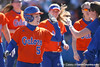 photo by Tim Casey<br /> <br /> Florida student coach Mary Ratliff congratulates Kim Waleszonia for hitting a home run in the second inning during the Gators' 8-0 win against the Baylor Bears on Saturday, February 7, 2009 at Katie Seashole Pressly Softball Stadium in Gainesville, Fla.