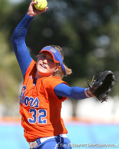 photo by Tim Casey<br /> <br /> Florida sophomore pitcher Stephanie Brombacher warms up during the fifth inning of the Gators' 8-0 win against the Baylor Bears on Saturday, February 7, 2009 at Katie Seashole Pressly Softball Stadium in Gainesville, Fla.