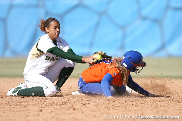 photo by Tim Casey<br /> <br /> Florida freshman Lauren Heil steals second base during the fifth inning of the Gators' 8-0 win against the Baylor Bears on Saturday, February 7, 2009 at Katie Seashole Pressly Softball Stadium in Gainesville, Fla.