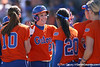 photo by Tim Casey<br /> <br /> Florida junior third baseman Corrie Brooks returns to the dugout after scoring a run in the second inning during the Gators' 8-0 win against the Baylor Bears on Saturday, February 7, 2009 at Katie Seashole Pressly Softball Stadium in Gainesville, Fla.