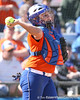 photo by Tim Casey<br /> <br /> Florida sophomore Tiffany DeFelice returns the ball to the pitcher during the fifth inning of the Gators' 8-0 win against the Baylor Bears on Saturday, February 7, 2009 at Katie Seashole Pressly Softball Stadium in Gainesville, Fla.