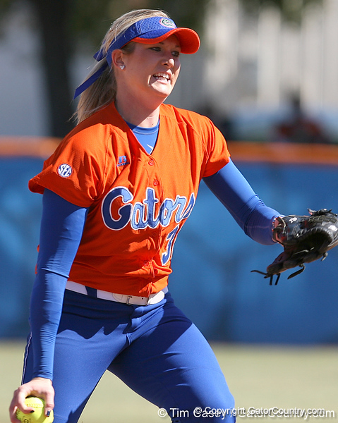 photo by Tim Casey<br /> <br /> Florida sophomore pitcher Stephanie Brombacher winds up in the first inning during the Gators' 8-0 win against the Baylor Bears on Saturday, February 7, 2009 at Katie Seashole Pressly Softball Stadium in Gainesville, Fla.