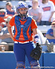 photo by Tim Casey<br /> <br /> Florida sophomore Tiffany DeFelice looks to the dugout in the second inning during the Gators' 8-0 win against the Baylor Bears on Saturday, February 7, 2009 at Katie Seashole Pressly Softball Stadium in Gainesville, Fla.