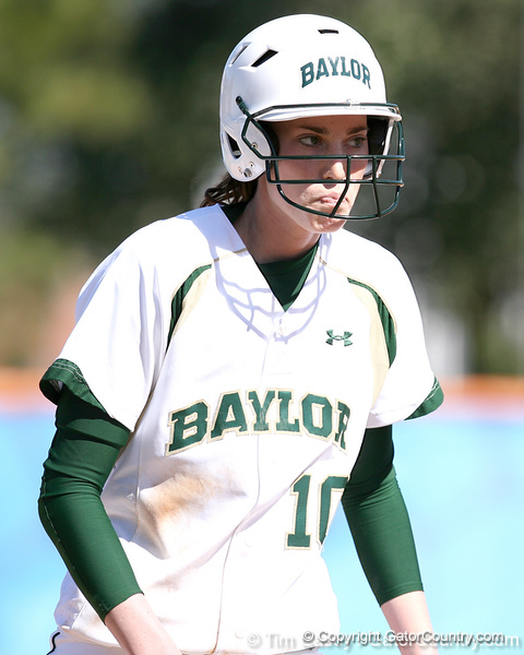 photo by Tim Casey<br /> <br /> Baylor's Nicole Wesley walks off of the field during the Gators' 8-0 win against the Baylor Bears on Saturday, February 7, 2009 at Katie Seashole Pressly Softball Stadium in Gainesville, Fla.
