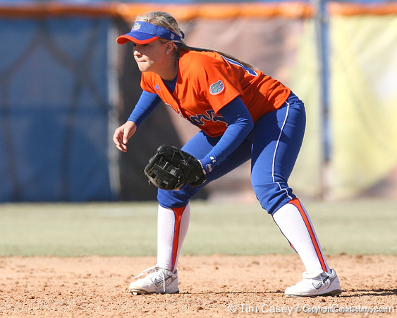 photo by Tim Casey<br /> <br /> Florida sophomore shortstop Megan Bush stands ready during the sixth inning of the Gators' 8-0 win against the Baylor Bears on Saturday, February 7, 2009 at Katie Seashole Pressly Softball Stadium in Gainesville, Fla.