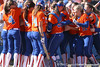 photo by Tim Casey<br /> <br /> Florida players congratulate sophomore second baseman Aja Paculba after she hit a home run during the fifth inning of the Gators' 8-0 win against the Baylor Bears on Saturday, February 7, 2009 at Katie Seashole Pressly Softball Stadium in Gainesville, Fla.