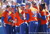photo by Tim Casey<br /> <br /> Florida players wait for Kim Waleszonia to score on a home run in the second inning during the Gators' 8-0 win against the Baylor Bears on Saturday, February 7, 2009 at Katie Seashole Pressly Softball Stadium in Gainesville, Fla.