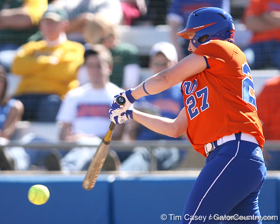 photo by Tim Casey<br /> <br /> Florida junior third baseman Corrie Brooks hits a double in the second inning aduring the Gators' 8-0 win against the Baylor Bears on Saturday, February 7, 2009 at Katie Seashole Pressly Softball Stadium in Gainesville, Fla.