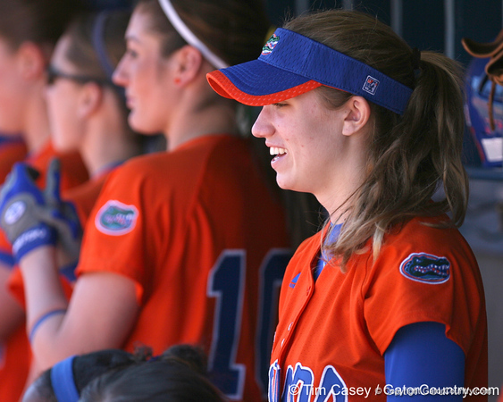 photo by Tim Casey<br /> <br /> Florida freshman Lauren Heil watches from the dugout during the Gators' 8-0 win against the Baylor Bears on Saturday, February 7, 2009 at Katie Seashole Pressly Softball Stadium in Gainesville, Fla.