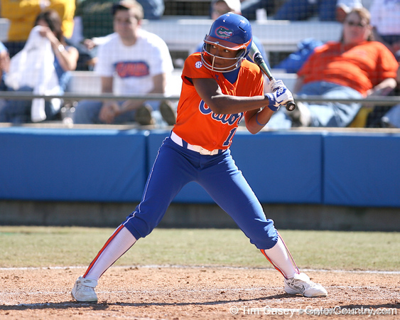 photo by Tim Casey<br /> <br /> Florida freshman Michelle Moultrie bats during the fourth inning of the Gators' 8-0 win against the Baylor Bears on Saturday, February 7, 2009 at Katie Seashole Pressly Softball Stadium in Gainesville, Fla.