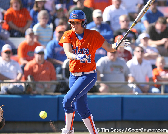 photo by Tim Casey<br /> <br /> Florida senior first baseman Ali Gardiner gets hit by a pitch during the fifth inning of the Gators' 8-0 win against the Baylor Bears on Saturday, February 7, 2009 at Katie Seashole Pressly Softball Stadium in Gainesville, Fla.