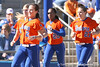 photo by Tim Casey<br /> <br /> Florida sophomore Kelsey Bruder runs to congratulate Aja Paculba for hitting a home run during the fifth inning of the Gators' 8-0 win against the Baylor Bears on Saturday, February 7, 2009 at Katie Seashole Pressly Softball Stadium in Gainesville, Fla.