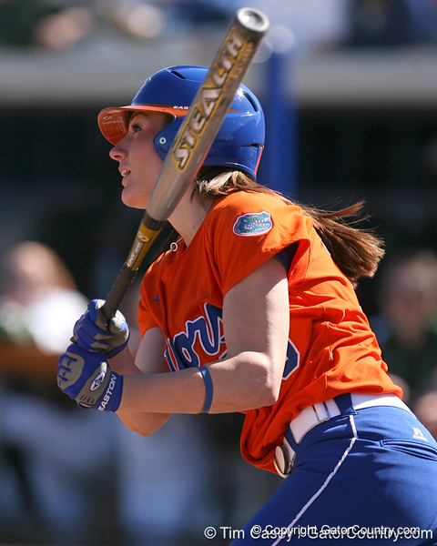 photo by Tim Casey<br /> <br /> Florida junior left fielder Francesca Enea crushes a three-run home run in the first inning during the Gators' 8-0 win against the Baylor Bears on Saturday, February 7, 2009 at Katie Seashole Pressly Softball Stadium in Gainesville, Fla.