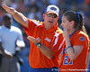 photo by Tim Casey<br /> <br /> Florida head coach Tim Walton talks to junior third baseman Corrie Brooks in the second inning during the Gators' 8-0 win against the Baylor Bears on Saturday, February 7, 2009 at Katie Seashole Pressly Softball Stadium in Gainesville, Fla.