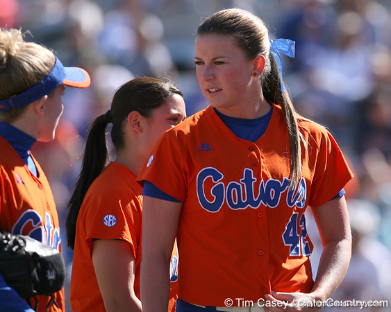 photo by Tim Casey<br /> <br /> Florida senior pitcher Stacey Nelson talks with senior centerfielder Kim Waleszonia during the fourth inning of the Gators' 8-0 win against the Baylor Bears on Saturday, February 7, 2009 at Katie Seashole Pressly Softball Stadium in Gainesville, Fla.