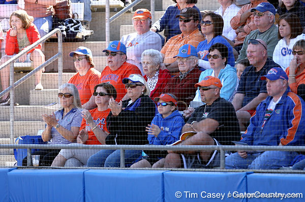 photo by Tim Casey<br /> <br /> Parents of Florida players watch from the stands in the third inning during the Gators' 8-0 win against the Baylor Bears on Saturday, February 7, 2009 at Katie Seashole Pressly Softball Stadium in Gainesville, Fla.