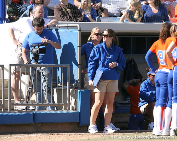 photo by Tim Casey<br /> <br /> Florida student coach Mary Ratliff watches from the dugout during the fifth inning of the Gators' 8-0 win against the Baylor Bears on Saturday, February 7, 2009 at Katie Seashole Pressly Softball Stadium in Gainesville, Fla.