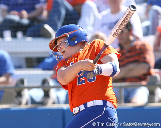 photo by Tim Casey<br /> <br /> Florida sophomore Tiffany DeFelice hits a single to center field in the third inning during the Gators' 8-0 win against the Baylor Bears on Saturday, February 7, 2009 at Katie Seashole Pressly Softball Stadium in Gainesville, Fla.