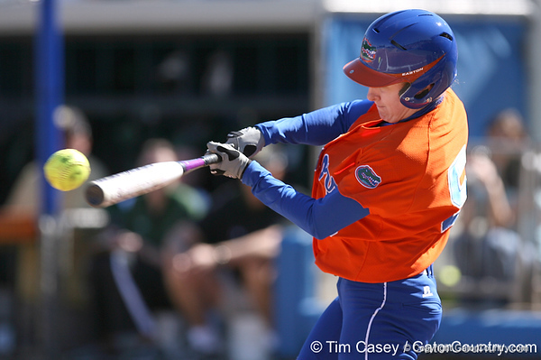photo by Tim Casey<br /> <br /> Florida senior centerfielder Kim Waleszonia smacks a deep fly ball during the first inning of the Gators' 8-0 win against the Baylor Bears on Saturday, February 7, 2009 at Katie Seashole Pressly Softball Stadium in Gainesville, Fla.