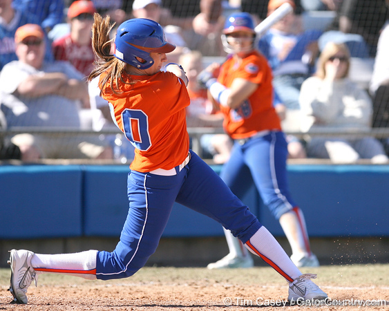 photo by Tim Casey<br /> <br /> Florida junior left fielder Francesca Enea grounds out to third base during the fifth inning of the Gators' 8-0 win against the Baylor Bears on Saturday, February 7, 2009 at Katie Seashole Pressly Softball Stadium in Gainesville, Fla.
