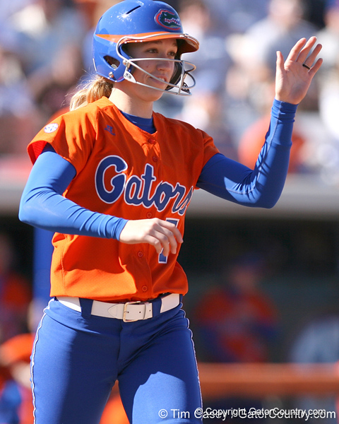 photo by Tim Casey<br /> <br /> Florida freshman Lauren Heil enters the game as a pinch runner during the fifth inning of the Gators' 8-0 win against the Baylor Bears on Saturday, February 7, 2009 at Katie Seashole Pressly Softball Stadium in Gainesville, Fla.