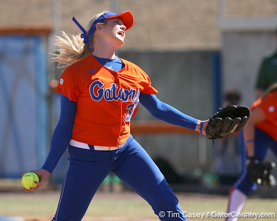 photo by Tim Casey<br /> <br /> Florida sophomore pitcher Stephanie Brombacher winds up in the second inning during the Gators' 8-0 win against the Baylor Bears on Saturday, February 7, 2009 at Katie Seashole Pressly Softball Stadium in Gainesville, Fla.