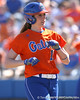 photo by Tim Casey<br /> <br /> Florida junior left fielder Francesca Enea returns to the dugout after being replaced by a pinch runner in the third inning during the Gators' 8-0 win against the Baylor Bears on Saturday, February 7, 2009 at Katie Seashole Pressly Softball Stadium in Gainesville, Fla.