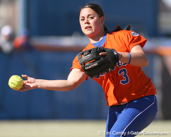 photo by Tim Casey<br /> <br /> Florida sophomore second baseman Aja Paculba throws out a runner at first base during the sixth inning of the Gators' 8-0 win against the Baylor Bears on Saturday, February 7, 2009 at Katie Seashole Pressly Softball Stadium in Gainesville, Fla.