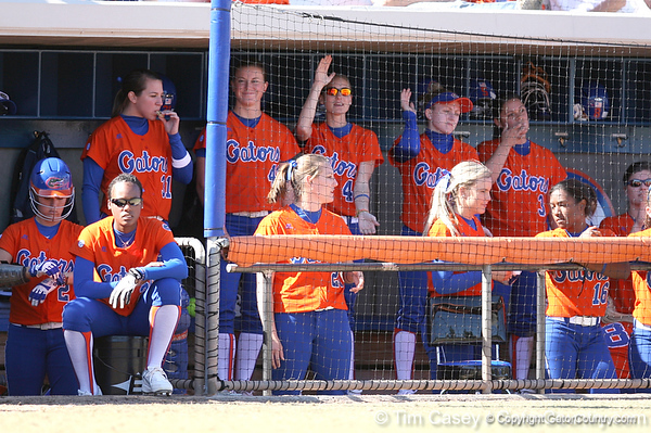 photo by Tim Casey<br /> <br /> Florida players cheer for Francesca Enea during the fifth inning of the Gators' 8-0 win against the Baylor Bears on Saturday, February 7, 2009 at Katie Seashole Pressly Softball Stadium in Gainesville, Fla.