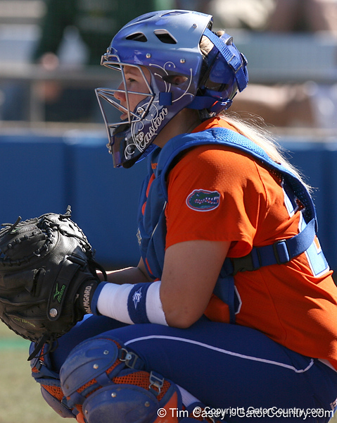 photo by Tim Casey<br /> <br /> Florida sophomore Tiffany DeFelice calls for a pitch during the Gators' 8-0 win against the Baylor Bears on Saturday, February 7, 2009 at Katie Seashole Pressly Softball Stadium in Gainesville, Fla.