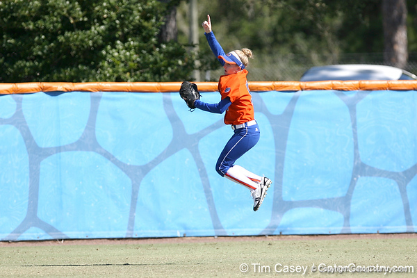 photo by Tim Casey<br /> <br /> Florida senior centerfielder Kim Waleszonia signals the first out of the second inning during the Gators' 8-0 win against the Baylor Bears on Saturday, February 7, 2009 at Katie Seashole Pressly Softball Stadium in Gainesville, Fla.