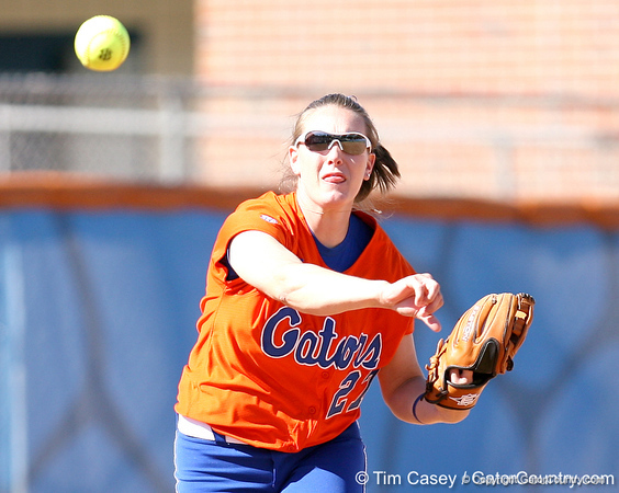 photo by Tim Casey<br /> <br /> Florida junior third baseman Corrie Brooks throws out a runner at first base to end the fifth inning during the Gators' 8-0 win against the Baylor Bears on Saturday, February 7, 2009 at Katie Seashole Pressly Softball Stadium in Gainesville, Fla.