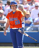 photo by Tim Casey<br /> <br /> Florida sophomore Tiffany DeFelice looks for a coaching signal in the third inning during the Gators' 8-0 win against the Baylor Bears on Saturday, February 7, 2009 at Katie Seashole Pressly Softball Stadium in Gainesville, Fla.