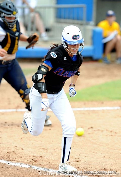 Sophomore Kelsey Bruder bats during the the No. 1/1 Florida softball team's defeat of the No. 14/16 Cal Golden Bears 2-1 in the second game of the Gainesville Super Regional Sunday, May 24, 2009 in Gainesville, Fla. at Katie Seashole Pressly Stadium. The win improved the Gators to a 60-3 overall for the season and cinched their second-consecutive trip to Oklahoma City for the WomenÕs College World Series. / Gator Country photo by Casey Brooke Lawson