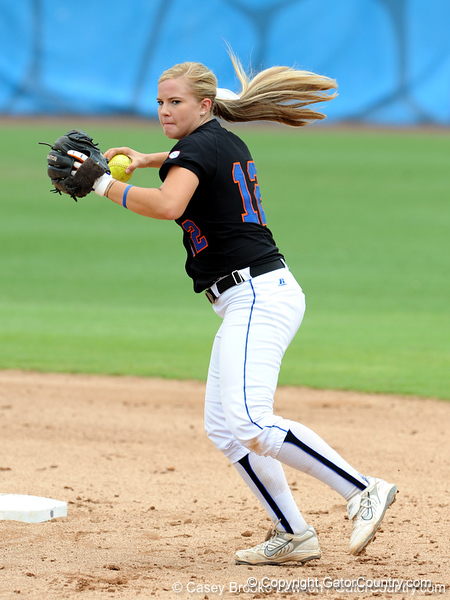Sophomore short stop Megan Bush plays the infield during the the No. 1/1 Florida softball team's defeat of the No. 14/16 Cal Golden Bears 2-1 in the second game of the Gainesville Super Regional Sunday, May 24, 2009 in Gainesville, Fla. at Katie Seashole Pressly Stadium. The win improved the Gators to a 60-3 overall for the season and cinched their second-consecutive trip to Oklahoma City for the Women's College World Series. / Gator Country photo by Casey Brooke Lawson