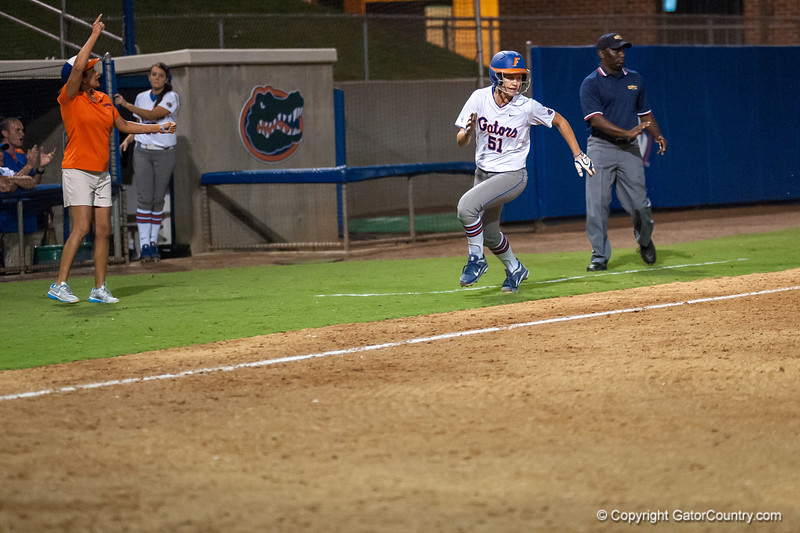 Florida freshman Sami Fagan runs to home plate during the Gators' 9-1 win against the South Carolina Gamecocks on Friday, March 16, 2012 at the Katie Seashole Pressly Softball Stadium in Gainesville, Fla. / Gator Country photo by Saj Guevara