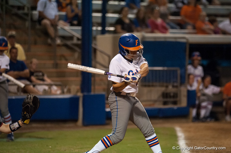 Florida freshman Katie Medina  at bat with 2 hits during the Gators' 9-1 win against the South Carolina Gamecocks on Friday, March 16, 2012 at the Katie Seashole Pressly Softball Stadium in Gainesville, Fla. / Gator Country photo by Saj Guevara