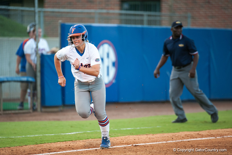 Florida freshman Katie Medina  runs to home plate during the Gators' 9-1 win against the South Carolina Gamecocks on Friday, March 16, 2012 at the Katie Seashole Pressly Softball Stadium in Gainesville, Fla. / Gator Country photo by Saj Guevara