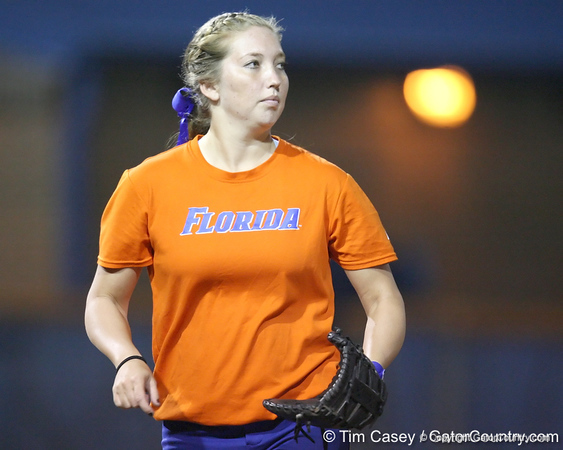 Florida freshman Samantha Holle stands at first base during the Gators' 8-4 exhibition game win against the Santa Fe College Saints on Thursday, November 5, 2009 at Katie Seashole Pressly Softball Stadium in Gainesville, Fla. / Gator Country photo by Tim Casey