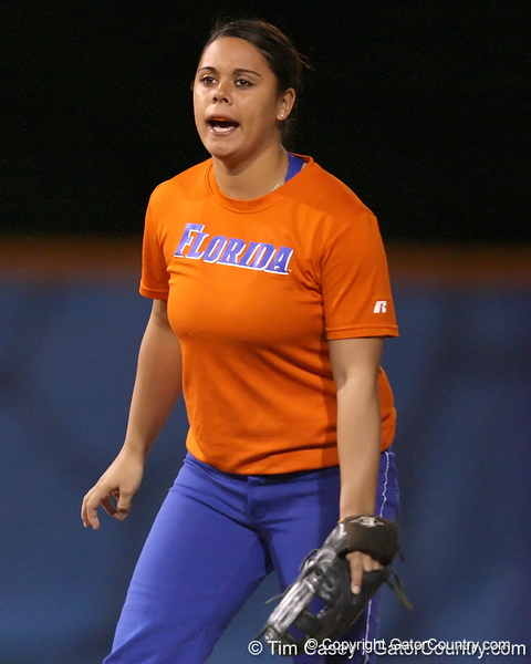 Florida junior second baseman Aja Paculba talks with teammates during the Gators' 8-4 exhibition game win against the Santa Fe College Saints on Thursday, November 5, 2009 at Katie Seashole Pressly Softball Stadium in Gainesville, Fla. / Gator Country photo by Tim Casey