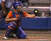 Florida junior catcher Tiffany DeFelice squeezes a pitch during the Gators' 8-4 exhibition game win against the Santa Fe College Saints on Thursday, November 5, 2009 at Katie Seashole Pressly Softball Stadium in Gainesville, Fla. / Gator Country photo by Tim Casey