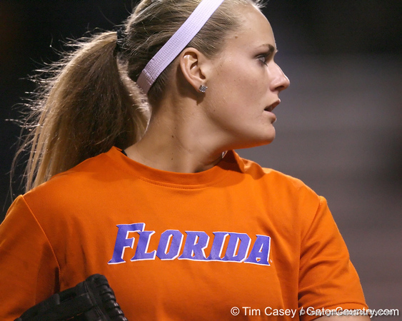 Florida freshman Brittany Schutte returns to the dugout during the Gators' 8-4 exhibition game win against the Santa Fe College Saints on Thursday, November 5, 2009 at Katie Seashole Pressly Softball Stadium in Gainesville, Fla. / Gator Country photo by Tim Casey
